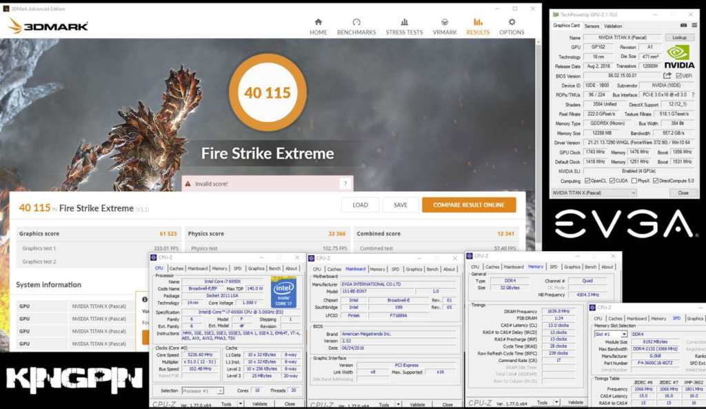"3DMark FireStrike Extreme World Record Broken by Overclocker ""Kingpin"", Using 4x GTX Titan X Pascal GPUs"