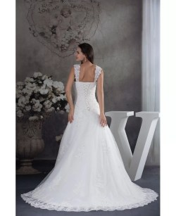 Glomorous Straps Sequined Lace Tulle Aline Wedding Dress Train Aline Wedding Dress Sequined Lace Tulle Aline Wedding Dress Straps Aline Wedding Dress Sleeves