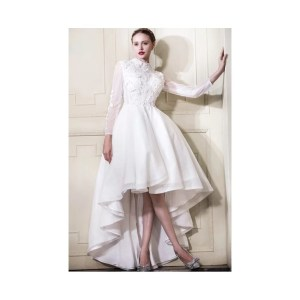 Fulgurant Beach Low Wedding Dress Sleeves Neck Low Wedding Dress Neck Low Lace Wedding Dress Long Illusionsleeves Lace Low Wedding Dresses Train