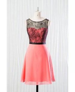 Fashionable Short Coral Bridesmaid Dress Sleeves Summer Wedding Coral Bridesmaid Dresses Under 100 Coral Bridesmaid Dresses Long Black Lace