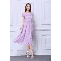 Sightly Mor Feminine A Line Off Shoulder Lace Tea Length Dress Tea Length Dress Definition Tea Length Dresses Groom