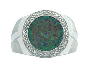 Diamond and Australian Opal Men's Ring in White Gold