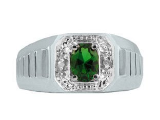Diamond and White Gold Men's Green Emerald Ring