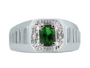 Diamond and White Gold Men's Green Emerald Ring