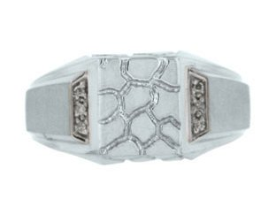 Men's Diamond and White Gold Signet Nugget Ring