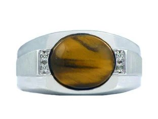 Men's White Gold Tiger's Eye and Diamond Ring