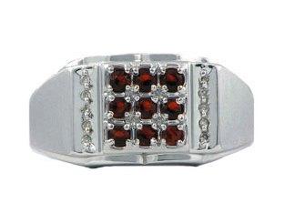 Men's Diamond and White Gold Garnet Ring