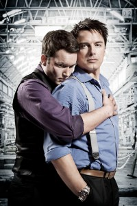John Barrowman as Captain Jack Harkness and Gareth David-Lloyd as Ianto in Torchwood
