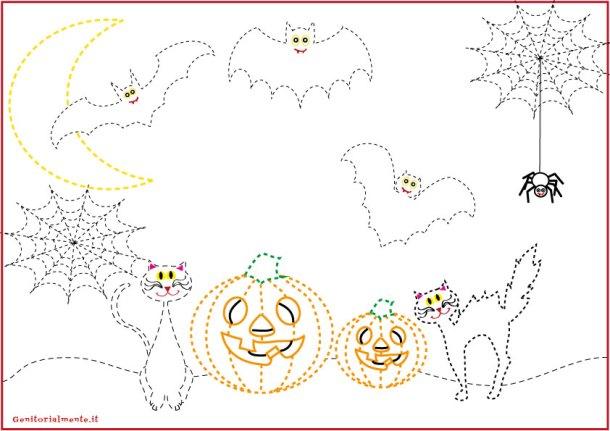 Schede pregrafismo percorsi: disegni di halloween   genitorialmente