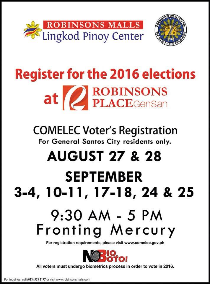 New Comelec Registration Schedules at Robinsons Place Gensan