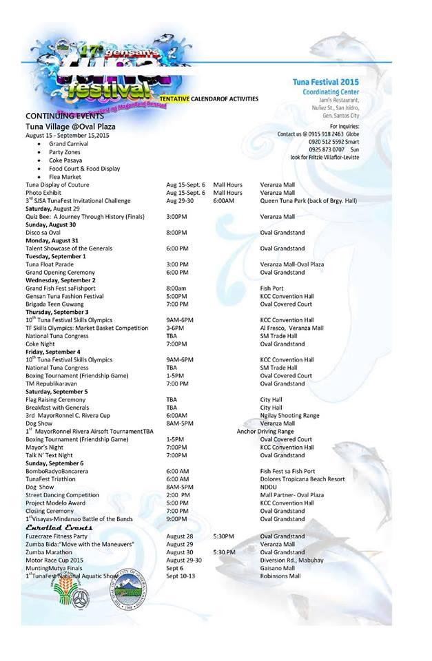 The Gensan Tuna Festival 2015 Schedule of Activities is here!