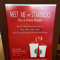 """Share the love with Starbucks Gensan's """"Buy 1, Get 1"""" Valentine Promo"""