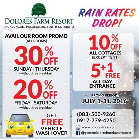 dolores farm resort rain rates drop