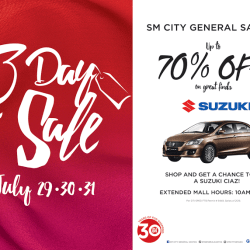 SM City Gen. Santos raffles off Brand New Suzuki Car on Grand 3-Day Sale and features Perkins Twins in Concert