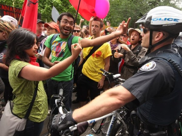Harsha Walia (left) insulting Toronto Police at the 2010 G20