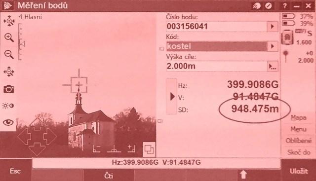 Měření bodů pomocí totální stanice Trimble SX10.