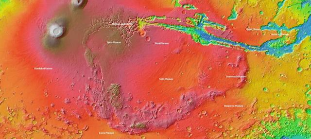 A map of Mars that includes the unually high elevation region LSU researchers are studying called Thaumasia Planum. Credit: Wikimedia