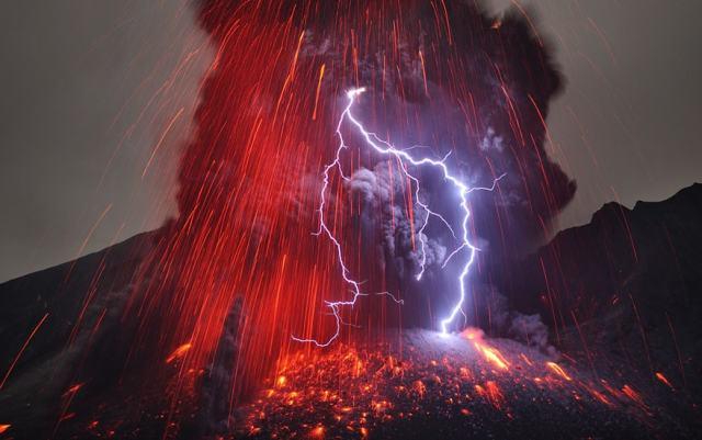 Sakurajima Volcano with Lightning Credit & Copyright: Martin Rietze (Alien Landscapes on Planet Earth)