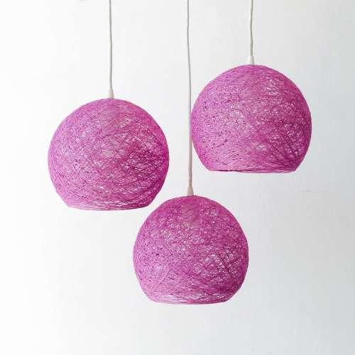 Lámpara de techo colgante violeta de hilo