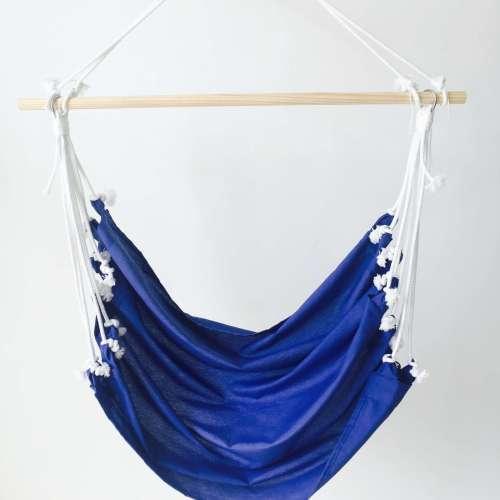 Hamaca silla colgante azul de tela de algodón de diseño