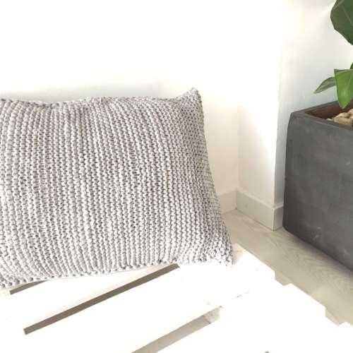 Pouf de ganchillo de algodón reciclado RECTANGLE