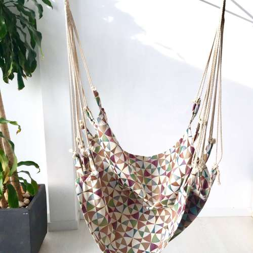 Hamaca silla colgante de tela geométrica