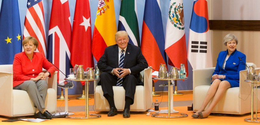 Trump at a 2018 G20 meeting, CC White House Flickr, modified, public domain