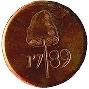 WI 26-A LIBERTY CAP WITH DATE 34mm Copper RJ Silverstein's georgewashingtoninauguralbuttons.com O