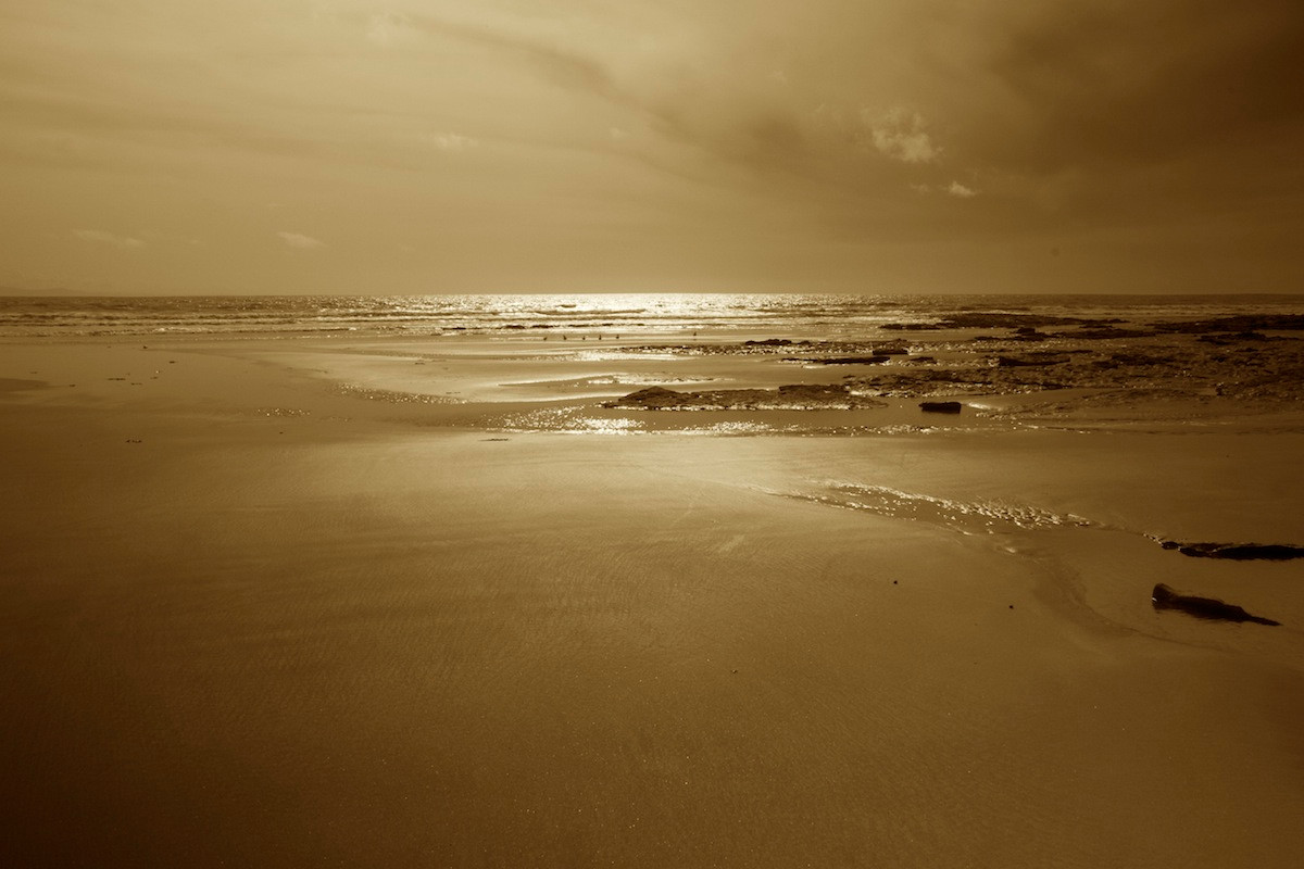 Southerndown beach glare sepia shadows