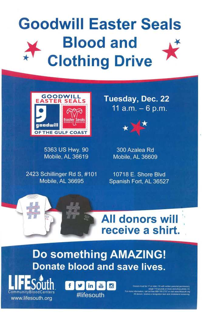 Dec 2015 blood and clothing drive