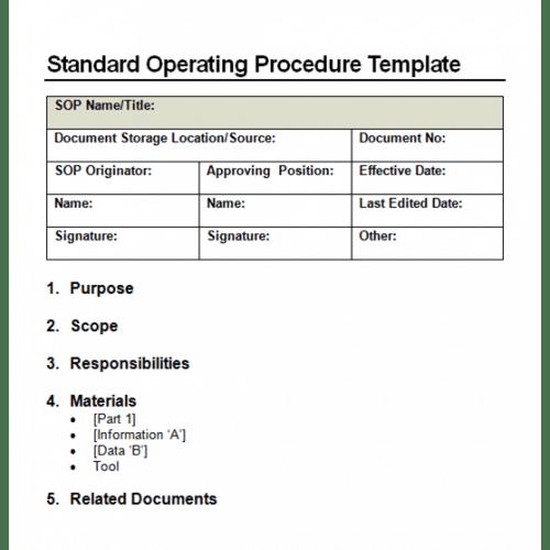 9 Standard Operating Procedure Sop Templates Word