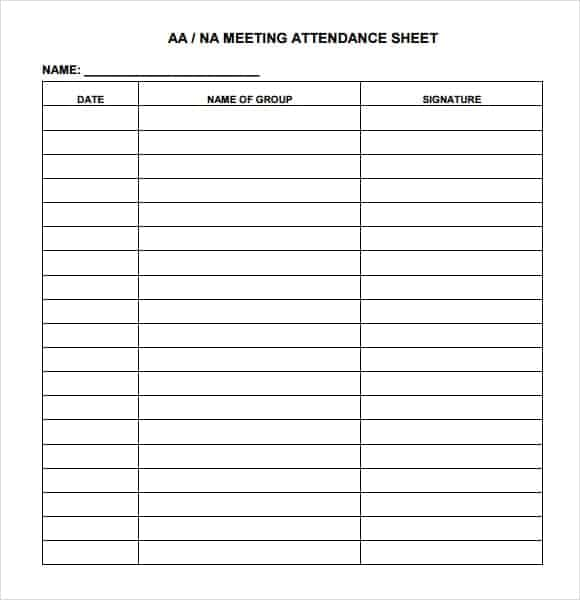 Meeting Attendance Sheet Template – Blank Calendars 2017