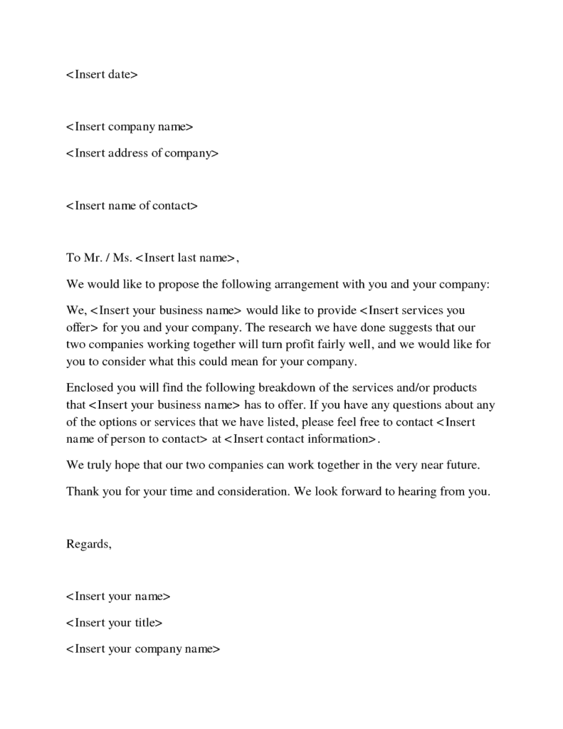 Appointment Letter Format Doc File doc business offer letter – Format for Proposal Letter