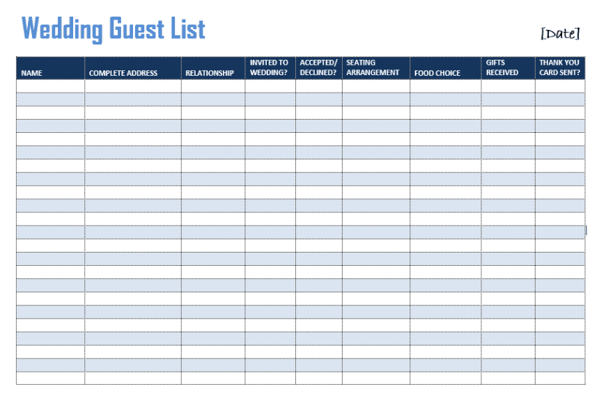 Doc.#601468: Printable Wedding Guest List Template – Sample
