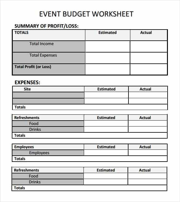 budgeting for an event