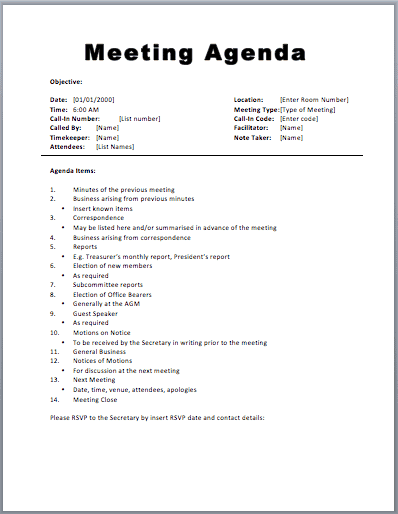 minutes from a meeting template