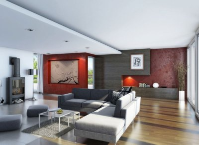 Awesome Living Room Wood Flooring with Red Wallpaper Decor - Interior Design Ideas