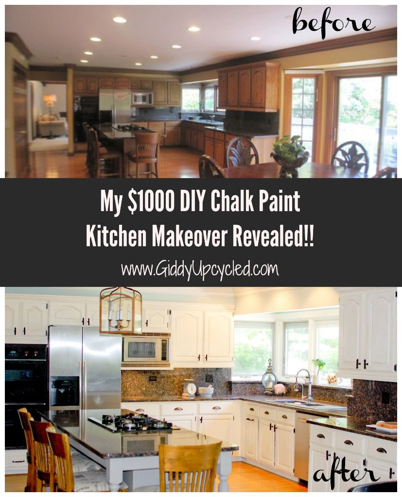 Orange Be Gone – My $1000 DIY Chalk Paint Kitchen Makeover Reveal!!