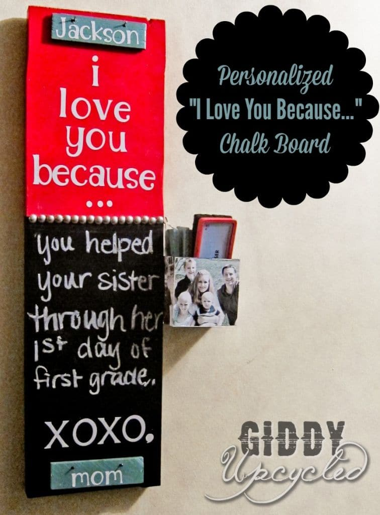 """DIY """"I Love You Because…"""" Chalkboard With Interchangeable Tiles"""