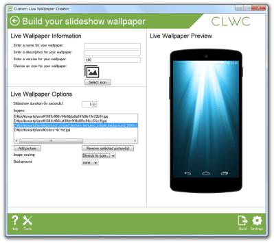 Custom Live Wallpaper Creator のダウンロードと使い方 - k本的に無料ソフト・フリーソフト