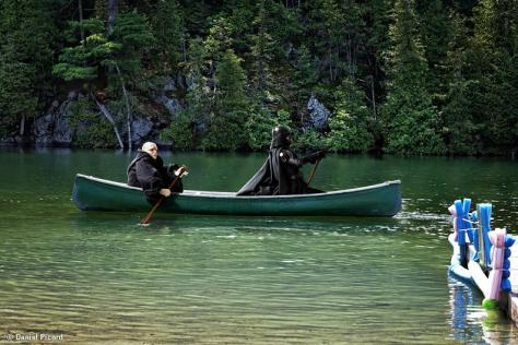 Palpatine and Darth Vader on a canoe