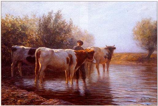 La mare aux vaches . Tableau huile sur toile, de la seconde partie du XIXème siècle, signé Anton BRAITZ. Notre œil ne nous permet que d'apprécier la surface de ce tableau, au demeurant fort bien peint avec ses effets de soleil.
