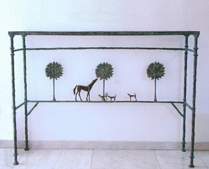 Console Promenade des amis, authentique, circa 1976. Diego Giacometti