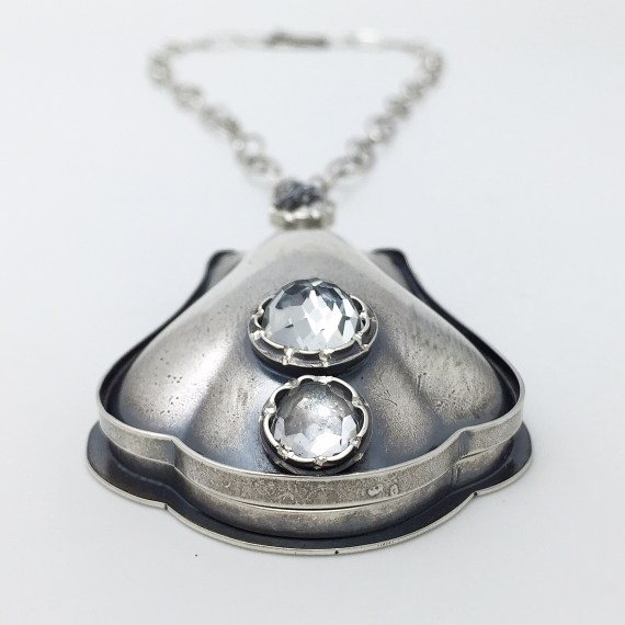 Louise Locket - sterling silver spoon, sterling silver, white topaz