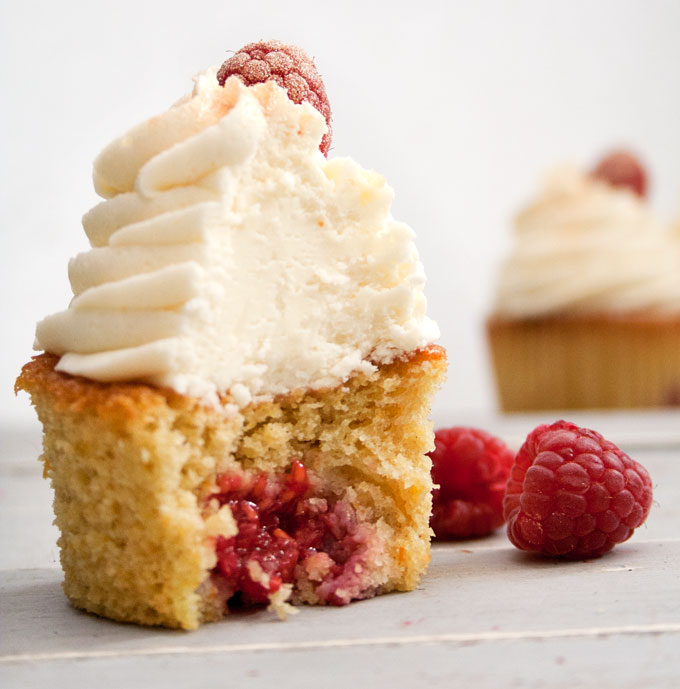 Orange and Raspberry Cupcakes with Prosecco Buttercream Frosting