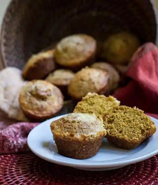 Pumpkin Muffins with Cream Cheese Swirl