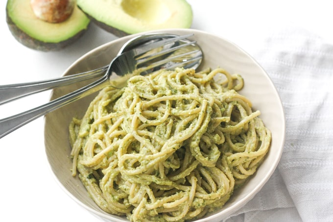 Creamy Avocado Basil Pesto Spaghetti from Ahead of Thyme