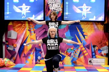 Leah and Cat playing Just Dance 2016 at the Ubisoft booth at Fan Expo 2015