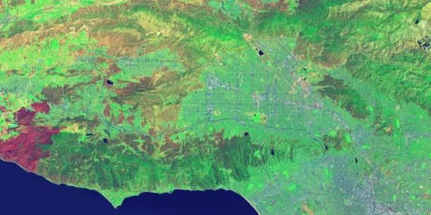 False-color image by using SWIR as red, NIR as green, and deep blue as blue of Landsat 8 satellite.   Credit: USGS