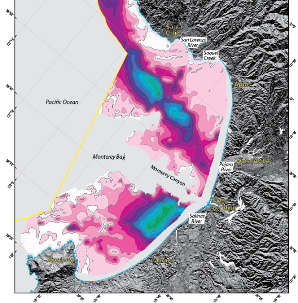 Map of unconsolidated sediment thickness in Monterey Bay, excluding Monterey Canyon
